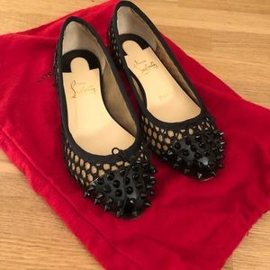 Christian Louboutin Spiked Toe Black Flats